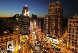 Gran Via by night. Ballesta street is a stone throw away on the right hand side of this image.