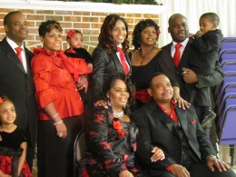 Aaron & Ladine with their three daughters, Aaronda along with her husband Grant and their two daughters, Sharronna and her husband Devon and their son. Aarika pictured in the middle is the youngest daughter of Aaron and Ladine.