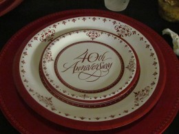Place setting for Aaron & Ladine's 40th Wedding Anniversary celebration.