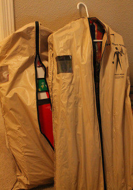 Zip up garment bags that are supplied with men's suits are perfect for wrapping and gift box storage.