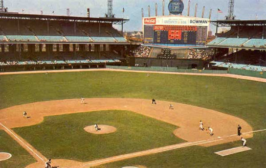 Not sure the date of this photo but there is a temporary fence in center that was not there in 1977. A ball had to be hit over the tall cement wall in center for a homer, 445 feet away.