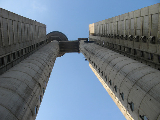 Looking up at the Western City Gate in Belgrade, Serbia (Genex Tower)