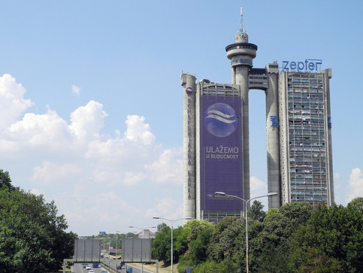 A head-on view of Genex Tower, Belgrade, Serbia