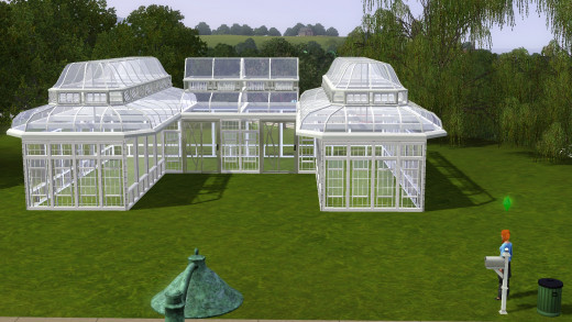 The finished product, a Sims 3 greenhouse ready to grow plants!