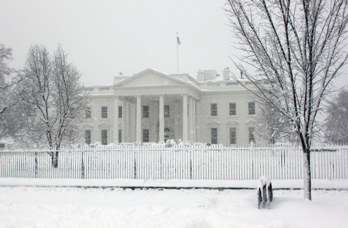 The White House in winter.