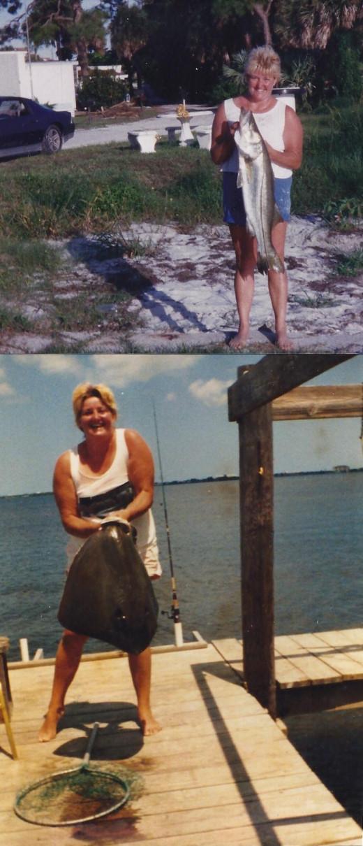 Top Photo- Snook Bottom Photo -10 pound Stingray