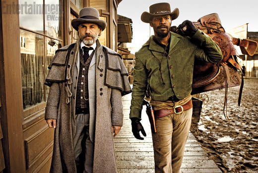 Christoph Waltz and Jamie Foxx star in Quentin Tarantino's epic western, Django Unchained, in theaters December 25.