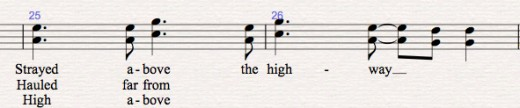 "A section of duet solo line from ""Holocene"" by Bon Iver. Here the solo is in fifths."