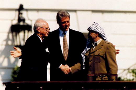 Yitzhak Rabin, President Clinton, and Yasser Arafat