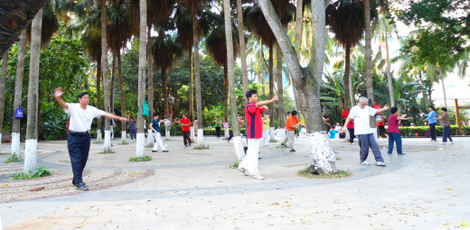 People practicing t'ai chi ch'uan (tai chi) in Haikou People's Park, Haikou City, Hainan Province, China. Image placed into the Public Domain by author Anna Frodesiak.