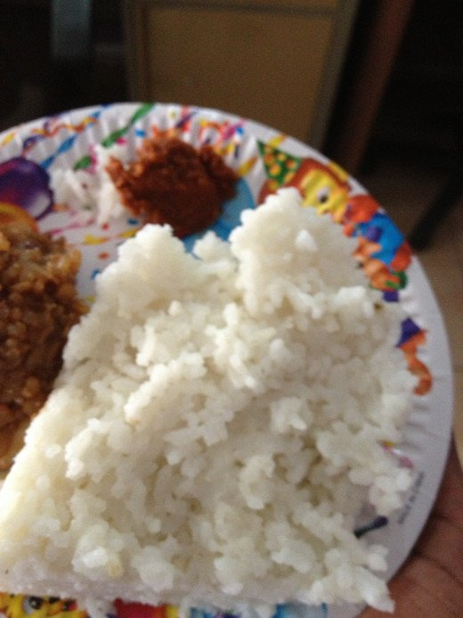 Kiribath goes with the red Katta Sambol and then there is the sweet Pongal.