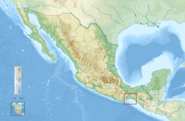 The region in the State of Oaxaca where the Wind Farms are being build is marked with a red square (see amplified coast of Oaxaca map below for more detail).