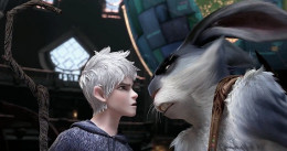 Jack Frost (voice of Chris Pine) and Bunny (Hugh Jackman) face off Rise of the Guardians, an animated adventure where Jack faces his destiny to become a Guardian of childhood dreams.
