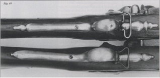 Brown Bess Pattern 1730 trigger guard (top) and a Pattern 1742 trigger guard (bottom).