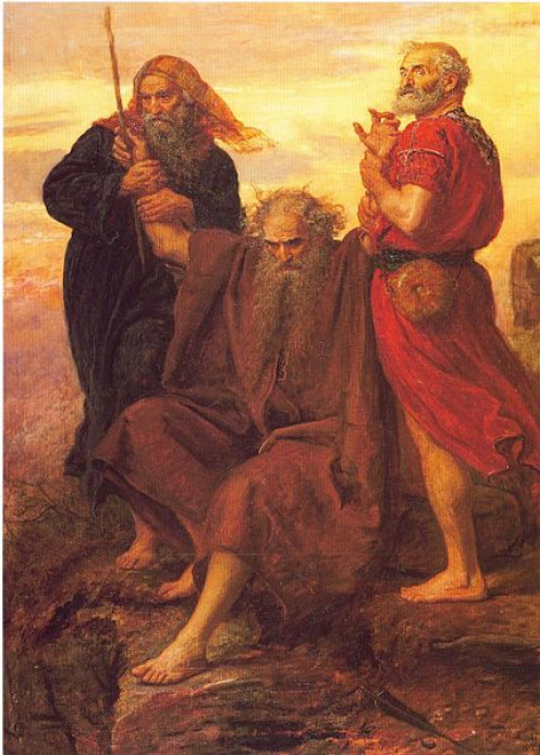 """Victory O Lord!"" by John Everett Millais portraying Moses holding up his hands so that Israel would prevail in battle."