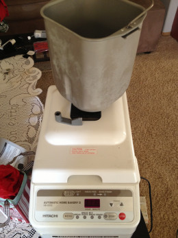 My bread machine with the bread pan and mixing blade.