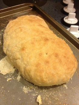 A finished loaf of french bread.  The dough was made with a bread machine.