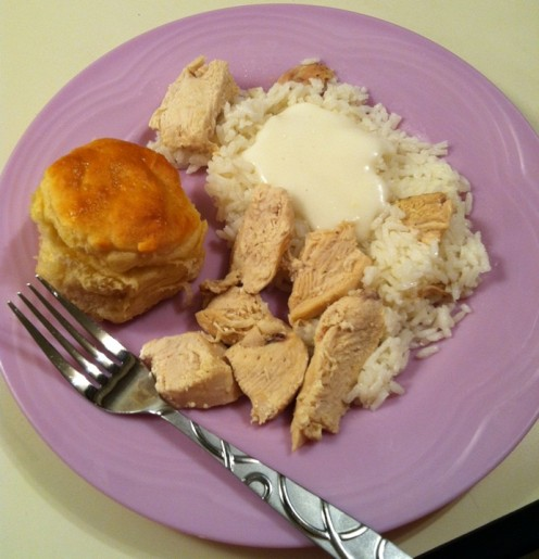 Chicken and rice with biscuit and gravy. A cheap but filling meal. Credit: Chase Snoke