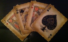 A decoration of face cards in a deck of poker cards.