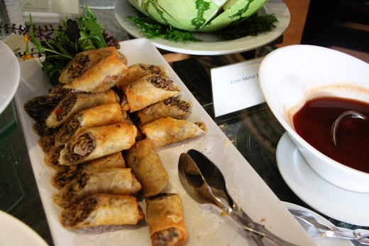 A Filipino Favorite: Lumpia with Banana Heart Trivia: Lumpia originated from the Chinese but was also adapted in Filipino cuisine