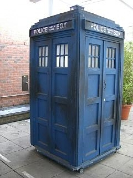 Dr Who's TARDIS (time and relative dimensions in space).