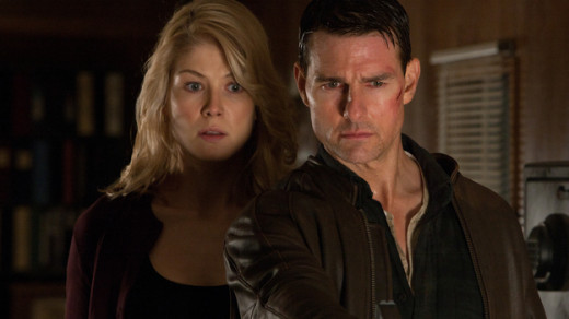 Rosamund Pike and Tom Cruise star in the mystery thriller Jack Reacher, based on the books by Lee Child
