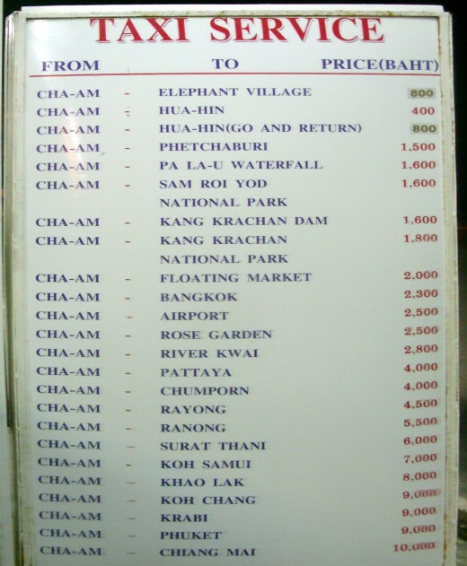 Taxi prices to destinations out of Cha Am