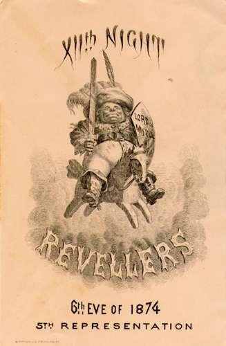 1874 Twelfth Night Revelers Carnival invitation, New Orleans.