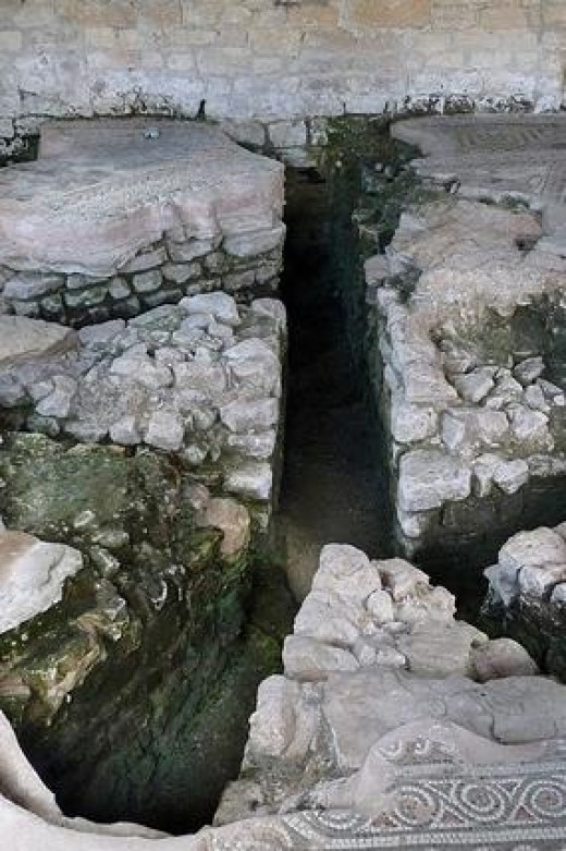 Remains of Ancient Roman underfloor heating ducts