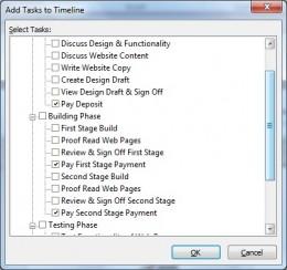 Add milestone tasks to the timeline