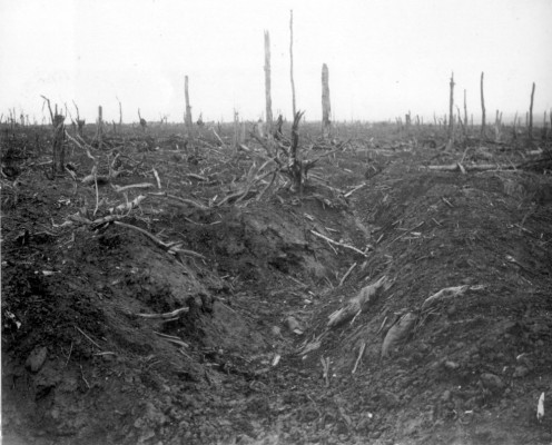 Abandoned German trench during the Battle of the Somme, France, 1916