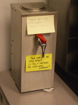 Even the watercooler isn't safe from the graffiti prankster.