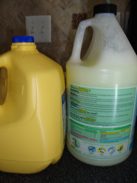 Use large empty containers to store homemade laundry detergent.