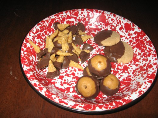 Easy to Make Cookies can become fancier with dipping chocolate.