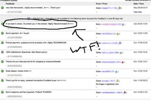 funny ebay feedback example