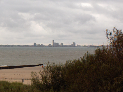 Breskens, The Netherlands, at the North Sea mouth of the Western Scheldt; Vlissingen in the background