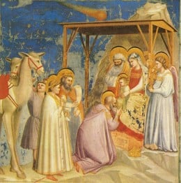 Notice the comet in the background in this painting by Giotto di Bondone (1267-1337)