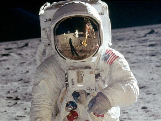 Edwin Aldrin with a reflection of Neil Armstrong