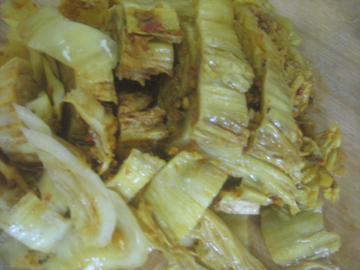 Sliced Kimchi (Photo Source: Ireno A. Alcala)