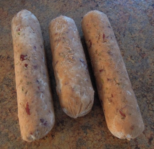 Vegan (and 'Free From') sausages. The recipe for these can be found on another of my hubs - http://elderberryarts.hubpages.com/hub/Vegan-Free-From-Sausages-Grain-egg-milk-soya-nut-free