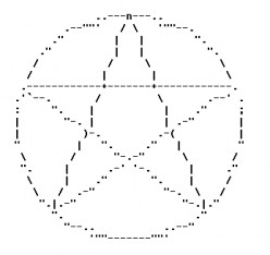 ASCII Text Art: Pentacles for Pagans