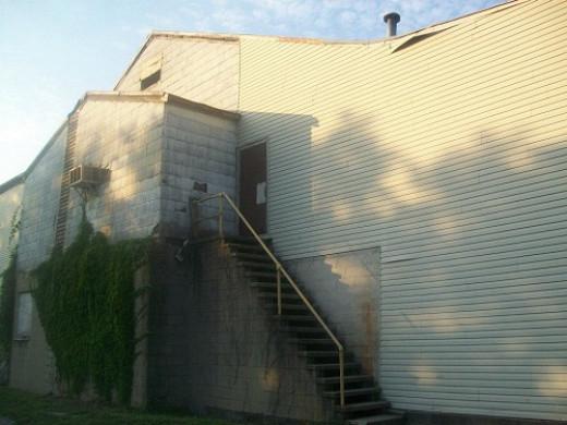 Stairs where Janet Mackey got thrown down.
