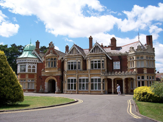 This is the front view of Bletchley Park, where the Enigma was deciphered during WW2