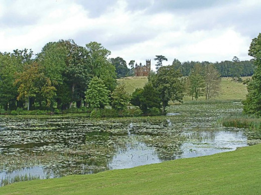 Lake at Stowe Gardens, Buckinghamshire, UK,with Temple in the distance