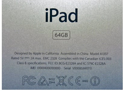 iPad and iPod touch serial numbers are engraved on the back case toward the bottom