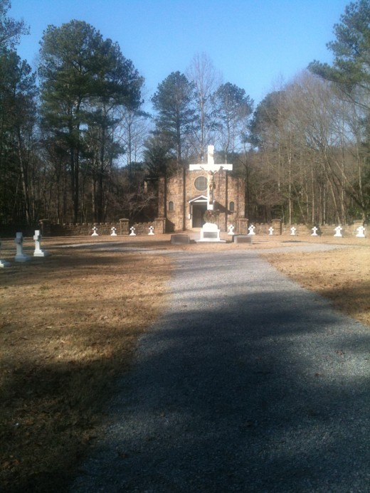 This is a picture of the chapel and the cemetary. It's actually a very serene scene. I took this and the other pictures with my IPad and it was moving seeing the inside of the chapel.
