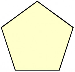 Regular pentagon. Gauss has shown that triangle, pentagon, then 17-gon i.e. polygons which side is a Fermat prime can be constructed by rule and compass only. (source: flysky)