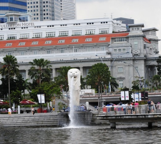 The Merlion near the Central Business District in Singapore