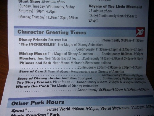 Disney Park Times Guide for Character Greeting Times