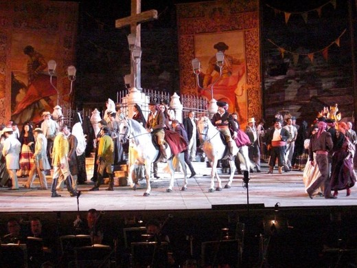 A traditional setting of Carmen at Verona - real horses!
